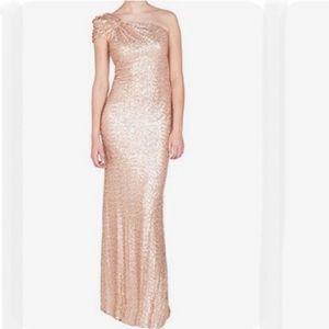 Rose Gold One Shoulder Sequin Dress